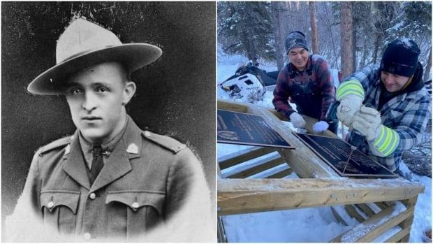 Left, Cst. Edgar Millen, who was killed in the line of duty during while pursuing the notorious 'Mad Trapper,' Albert Johnson, in 1932. A memorial dedicated to Millen has been restored by the RCMP with the help of community members near the site of his death. Right, Alfred Itsi and RCMP Cst. Scott Thomas install plaques on the memorial Cairn. (Virtual Museum of Canada/RCMP - image credit)
