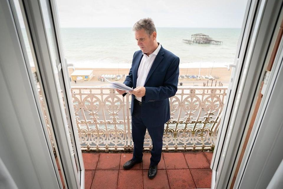 Labour leader, Sir Keir Starmer prepares his Labour Party conference speech in his hotel room in Brighton before addressing delegates tomorrow for the first time since becoming leader of his party in 2020. Picture date: Tuesday September 28, 2021. (PA Wire)