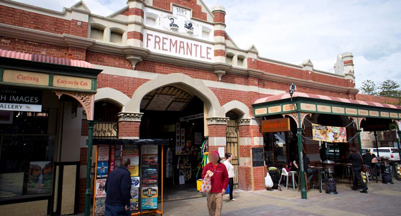 Fremantle Markets are shown after a man was arrested for allegedly giving a homeless person a beer.