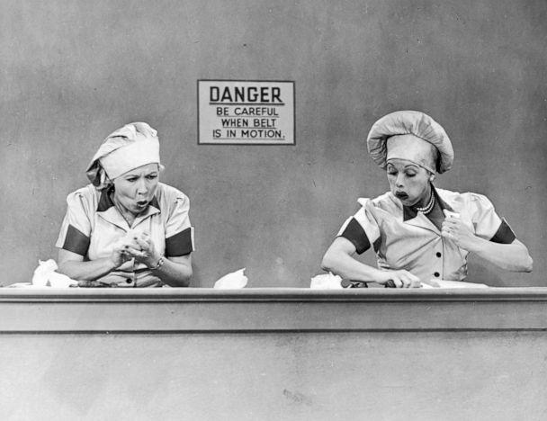PHOTO: Vivian Vance, as Ethel Mertz, and Lucille Ball, as Lucy Ricardo, work side-by side at a candy factory conveyor belt in an episode of 'I Love Lucy' entitled 'Job Switching.' (CBS Photo Archive/Getty Images, FILE)
