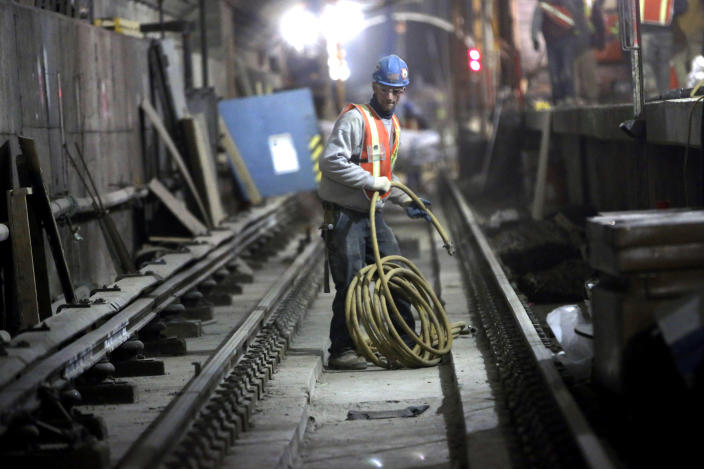 In this Wednesday, Jan. 23 2013 photo, a contractor works at the Second Avenue Subway construction project in New York. The Second Avenue Subway will eventually serve Manhattan's far East Side, from Harlem to the island's southern tip. (AP Photo/Mary Altaffer)