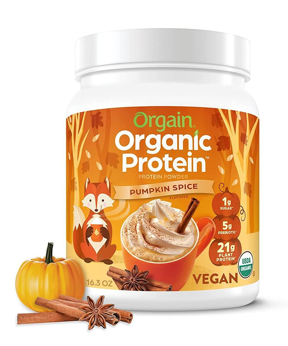 <p>Made with pea, brown rice, and chia seed protein, <span>Orgain Pumpkin Spice Protein Powder</span> ($19) offers 21 grams of protein per serving. </p>