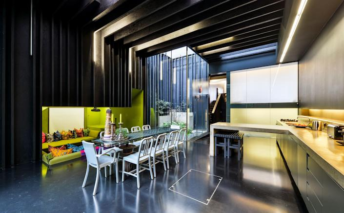 The kitchen and dining area designed by David Adjaye.