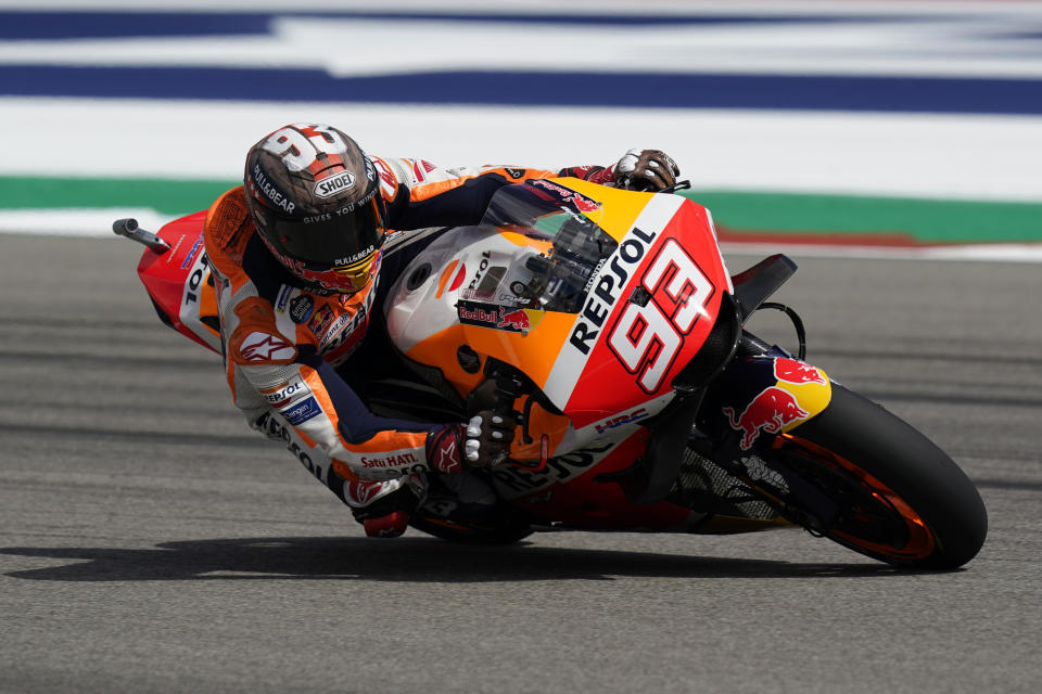 Marc Marquez (93), of Spain, steers through a turn during an open practice session for the MotoGP Grand Prix of the Americas race at the Circuit of the Americas, Friday, Oct. 1, 2021, in Austin, Texas. (AP Photo/Eric Gay)