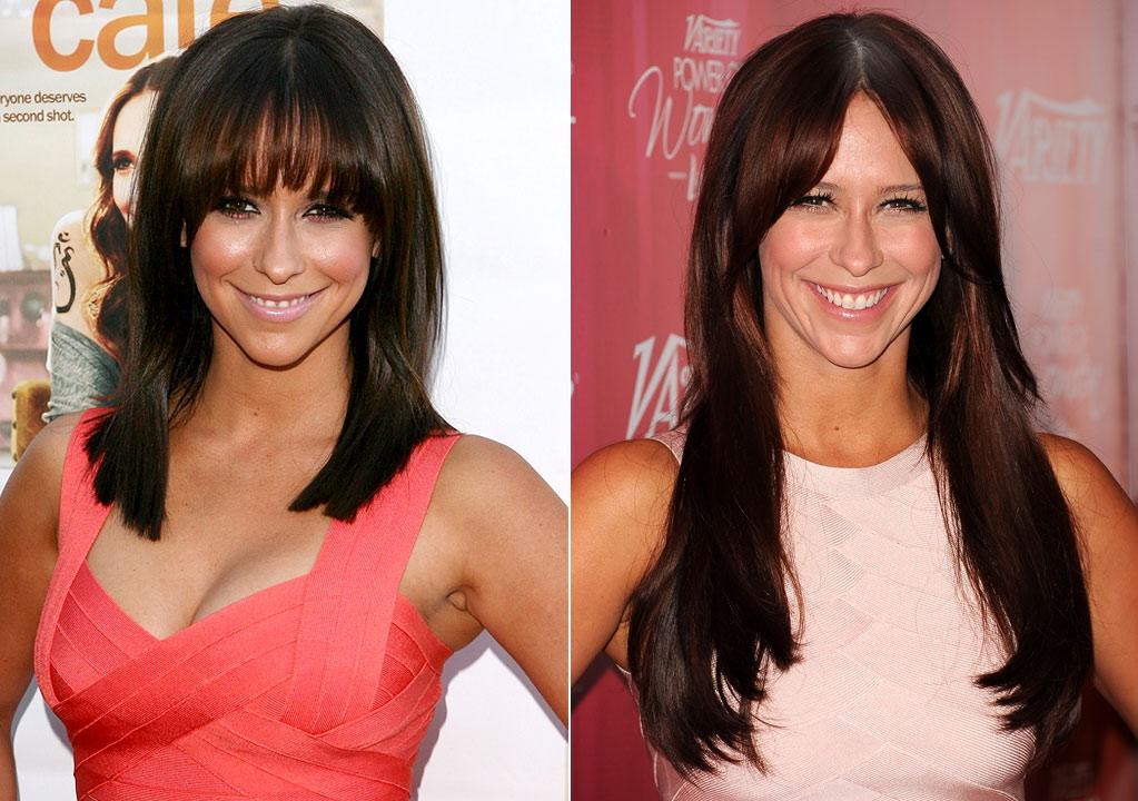 """Actress Jennifer Love Hewitt, 32, added inches to her mane and lost the bangs.        """"She looked dated and the previous haircut didn't suit her,"""" Eber noted. """"Her new look fits her personality, her age, and it looks like she's not trying too hard. Well done!""""     Jesse Grant/WireImage.com/Jason Merritt/Getty Images"""