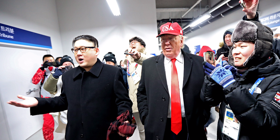 A Kim Jong-un and Donald Trump impersonator were kicked out of Friday's Olympics Opening Ceremony in PyeongChang. (Getty)