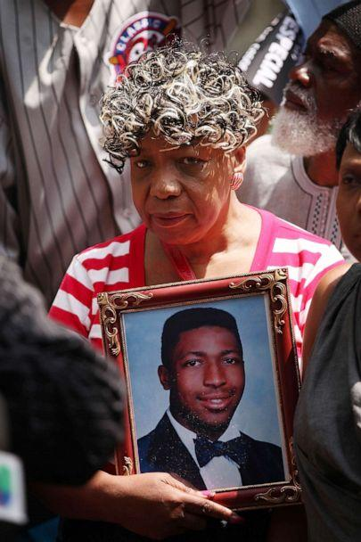 PHOTO: Gwen Carr, the mother of Eric Garner, holds a portrait of her son during a demonstration in front of Governor Andrew Cuomo's office on July 7, 2015, in New York. (Spencer Platt/Getty Images, FILE)