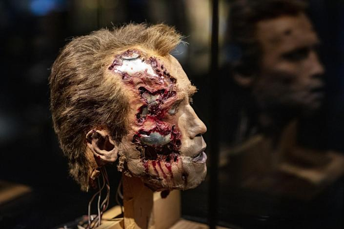 A fake head that has been burned