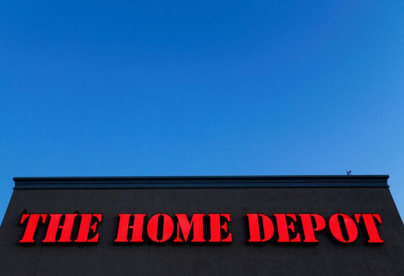 FILE PHOTO: The logo Home Depot is seen in Encinitas, California