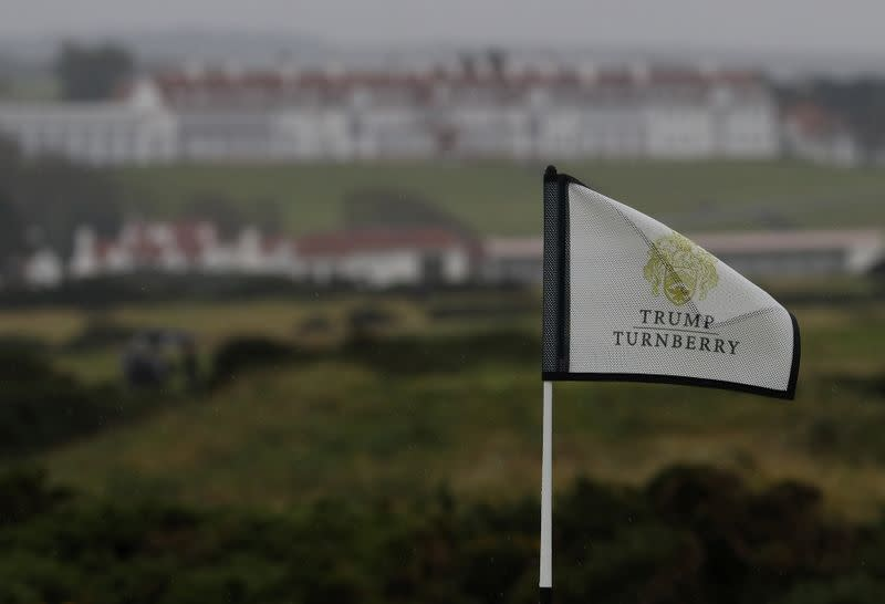 A flag flutters on the Ailsa Championship Course at the Trump Turnberry Golf Resort in Turnberry, Scotland