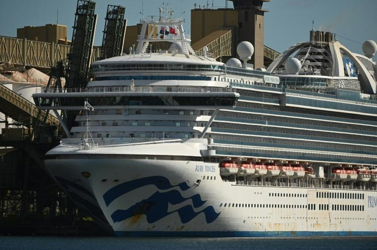 Cruise liner Ruby Princess sits in the harbour in Port Kembla, south of Sydney, on April 6, 2020