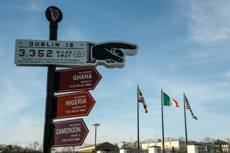 """A helpful, east-pointing sign in the Guinness brewery in Baltimore reminds visitors that """"Dublin is 3,352 miles away"""""""