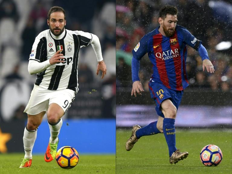 Juventus forward Gonzalo Higuain (L) and Barcelona forward Lionel Messi pictured in a combination of image created on April 10, 2017