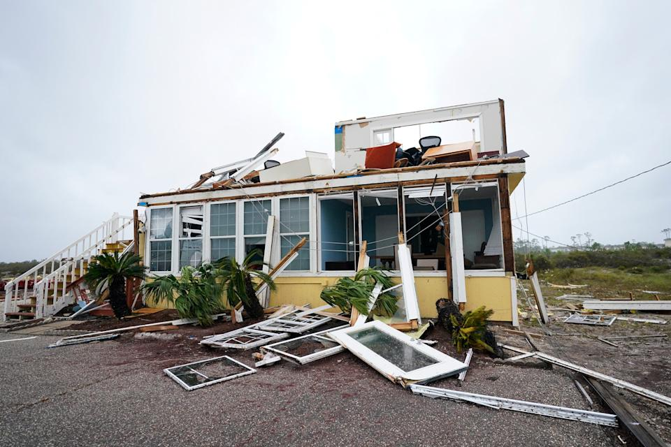 The business of Joe and Teresa Mirable is seen after Hurricane Sally moved through the area, Wednesday, Sept. 16, 2020, in Perdido Key, Fla.