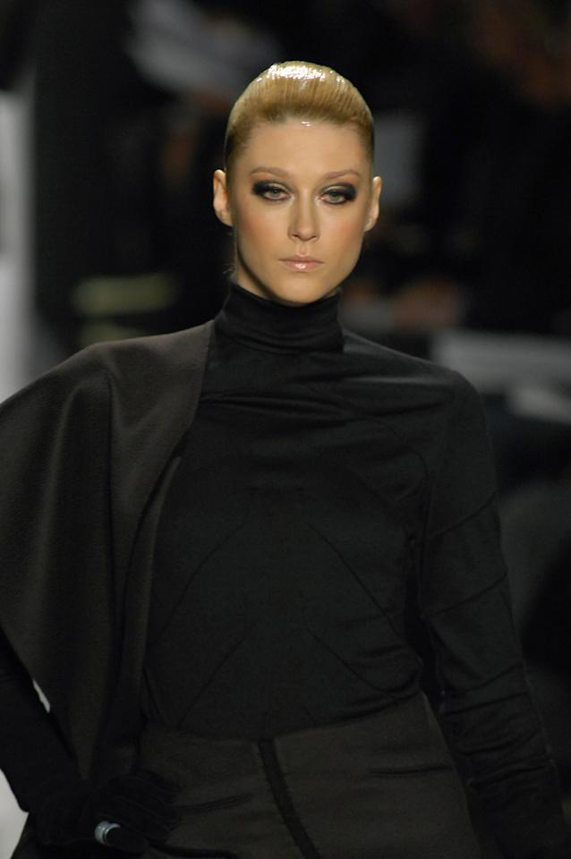 Anastassia Khozzisova wearing Chado Ralph Rucci Ready-To-Wear Fall 2007 (Photo by Carlo Buscemi/WireImage)