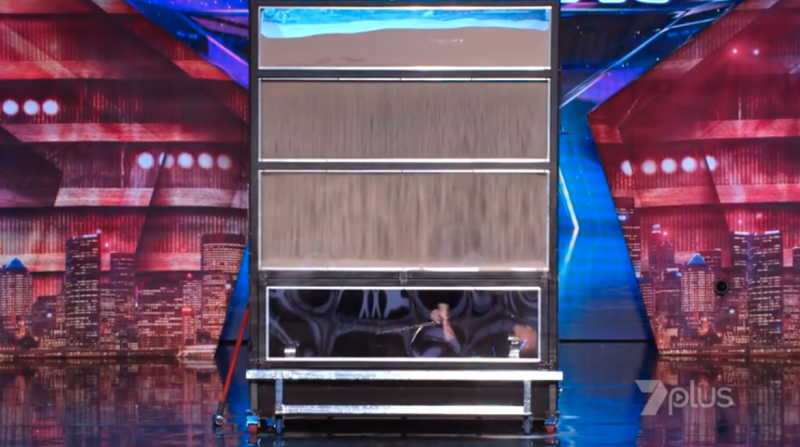 Demian appeared on Australia's Got Talent with a sandbox escape last night. Photo: Seven