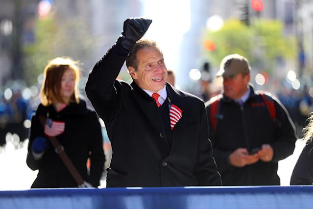 <p>New York Governor Andrew Cuomo marches in the Veterans Day parade in New York City on Nov. 11, 2017. (Photo: Gordon Donovan/Yahoo News) </p>