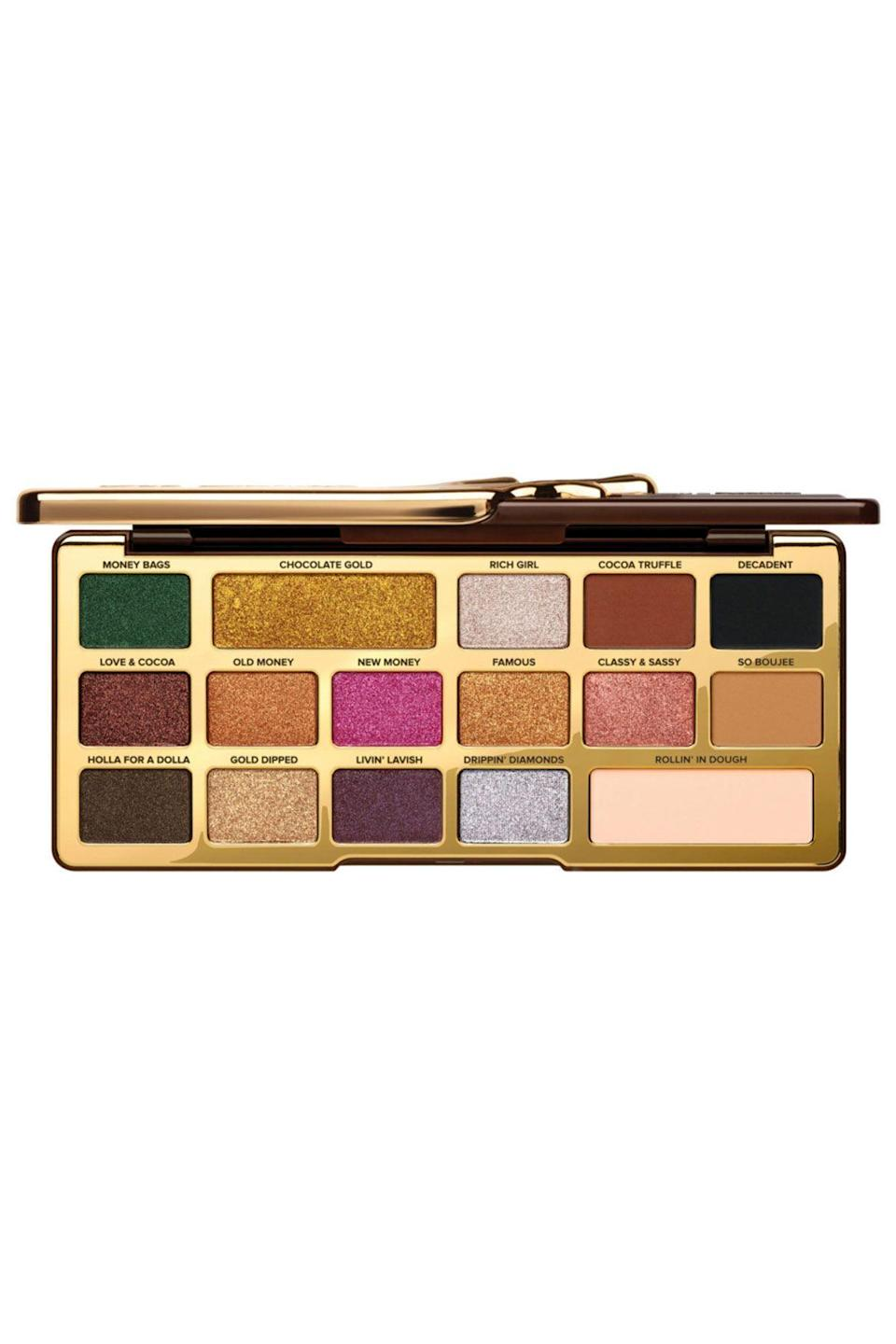 """<p><strong>Too Faced</strong></p><p>ulta.com</p><p><strong>$49.00</strong></p><p><a href=""""https://go.redirectingat.com?id=74968X1596630&url=https%3A%2F%2Fwww.ulta.com%2Fchocolate-gold-metallicmatte-eyeshadow-palette%3FproductId%3DxlsImpprod17351007&sref=https%3A%2F%2Fwww.seventeen.com%2Fbeauty%2Fg29487979%2Fbest-eyeshadow-makeup-palettes%2F"""" rel=""""nofollow noopener"""" target=""""_blank"""" data-ylk=""""slk:SHOP NOW"""" class=""""link rapid-noclick-resp"""">SHOP NOW</a></p><p>Want your lids to look <em>and </em>smell amazing? Well, this buttery eyeshadow palette not only features rich metallics and soft mattes, but is also infused with real cocoa powder.</p>"""