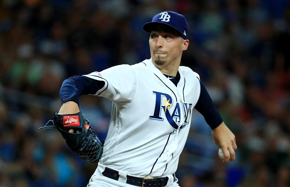 ST PETERSBURG, FLORIDA - JUNE 14: Blake Snell #4 of the Tampa Bay Rays pitches during a game against the Los Angeles Angels at Tropicana Field on June 14, 2019 in St Petersburg, Florida. (Photo by Mike Ehrmann/Getty Images)