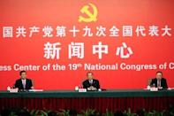 China's Minister of Supervision, and Chief of the National Bureau of Corruption Prevention, Yang Xiaodu (C) attends a news conference during the 19th National Congress of the Communist Party of China in Beijing, China October 19, 2017. REUTERS/Aly Song
