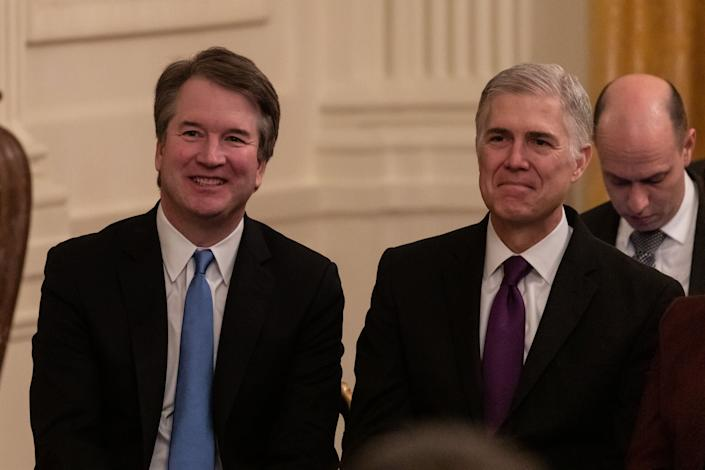 "Trump likes to refer to justices Brett Kavanaugh and Neil Gorsuch as ""my judges."" (Photo: NurPhoto via Getty Images)"