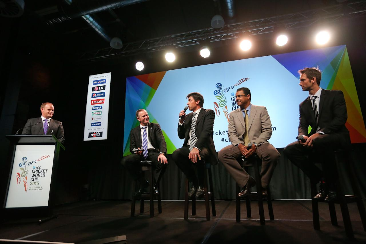 WELLINGTON, NEW ZEALAND - JULY 30:  (L-R), Andrew Mulligan, John Key, Stephen Fleming, Waqar Younis and Grant Elliott take part in a panel discussion during the official launch of the ICC Cricket World Cup 2015 on July 30, 2013 in Wellington, New Zealand.  (Photo by Hagen Hopkins/Getty Images for ICC)