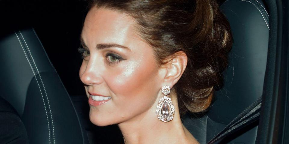 """<p>For Prince Charles' <a href=""""https://www.harpersbazaar.com/celebrity/latest/a25100717/kate-middleton-prince-charles-birthday-party-buckingham-palace/"""" rel=""""nofollow noopener"""" target=""""_blank"""" data-ylk=""""slk:70th birthday party"""" class=""""link rapid-noclick-resp"""">70th birthday party</a>, Kate wore a one-shoulder pink gown with jaw-dropping diamond earrings.</p>"""
