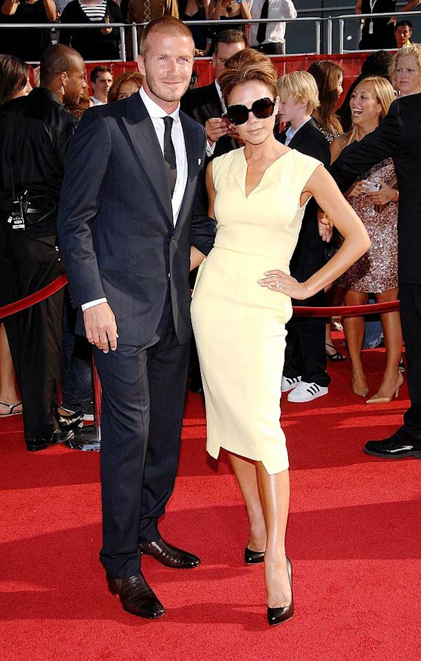 "It's been a year since David Beckham and his wife Victoria (pictured here at Wednesday's ESPY Awards) relocated to America. The soccer stud blogged last week that his family has had such a warm welcome in Los Angeles that he ""can't imagine being anywhere else in the world."" John Shearer/<a href=""http://www.wireimage.com"" target=""new"">WireImage.com</a> - July 16, 2008"