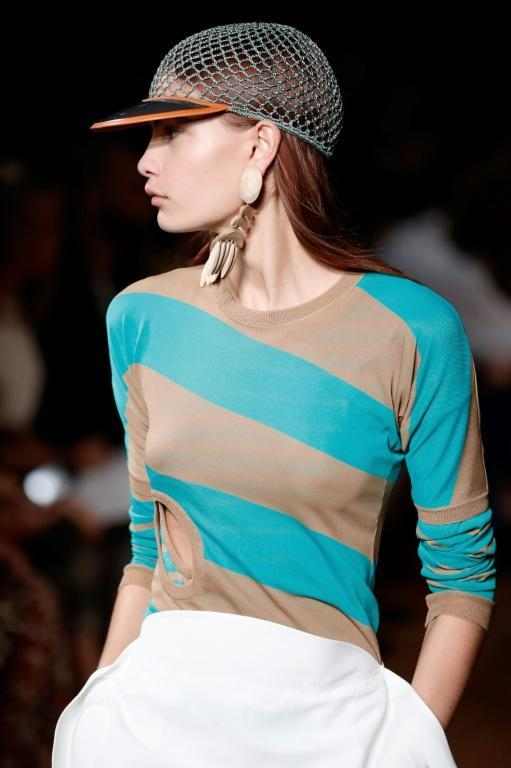 A model wears one of a series of stripey tops at the Stella McCartney Paris fashion show, which the British designer said was her most sustainable collection ever (AFP Photo/Thomas SAMSON)
