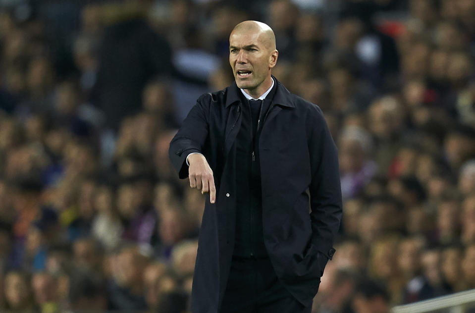 BARCELONA, SPAIN - DECEMBER 18: Zinedine Zidane, Manager of Real Madrid reacts during the Liga match between FC Barcelona and Real Madrid CF at Camp Nou on December 18, 2019 in Barcelona, Spain. (Photo by Quality Sport Images/Getty Images)