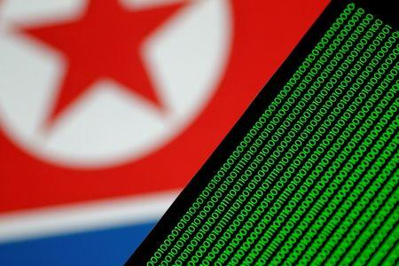 Illustration photo of binary code against a North Korean flag