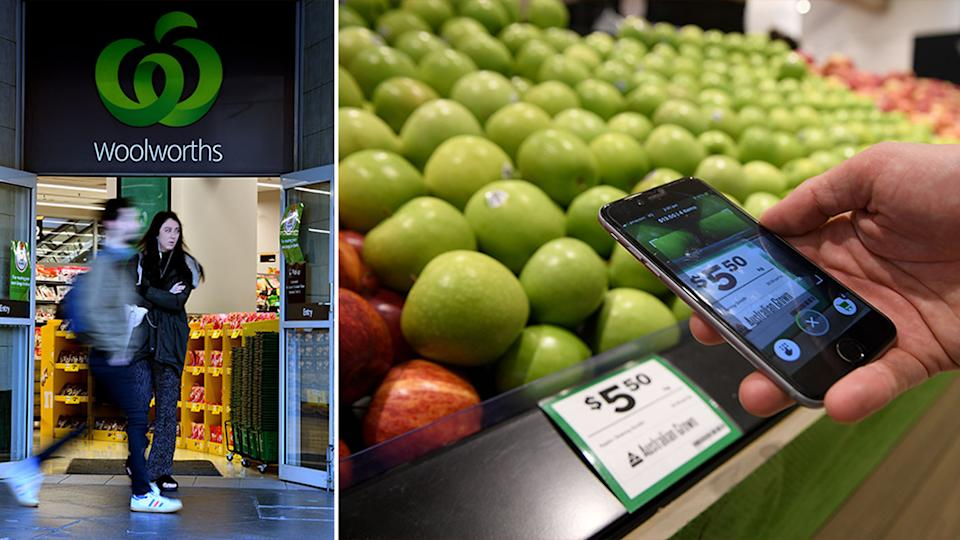 Scan&Go is another way of shopping for Woolworths customers, in the photo form 2018, a person scans apple at a Woolworths store.