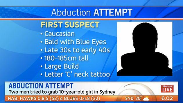 The first suspect is believed to be Caucasian with a 'C' tattoo on his neck. Photo: 7 News