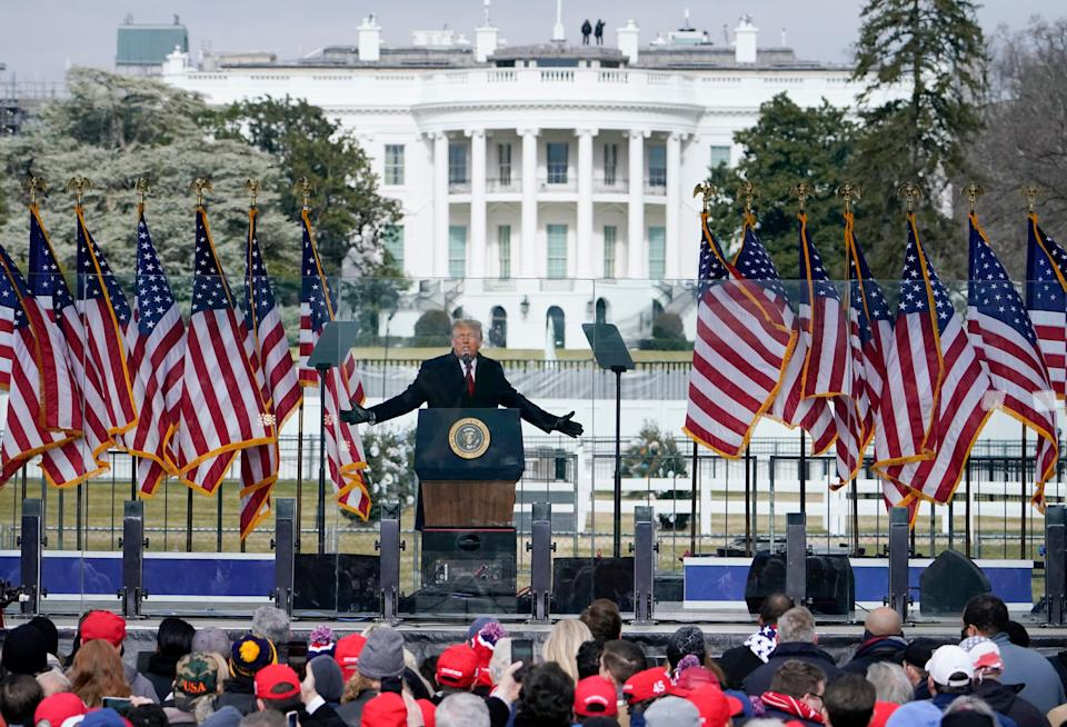 Then-President Donald Trump speaks at a rally in Washington on Jan. 6, 2021. Soon after he spoke, thousands of supporters marched on the Capitol, some of whom stormed the building.
