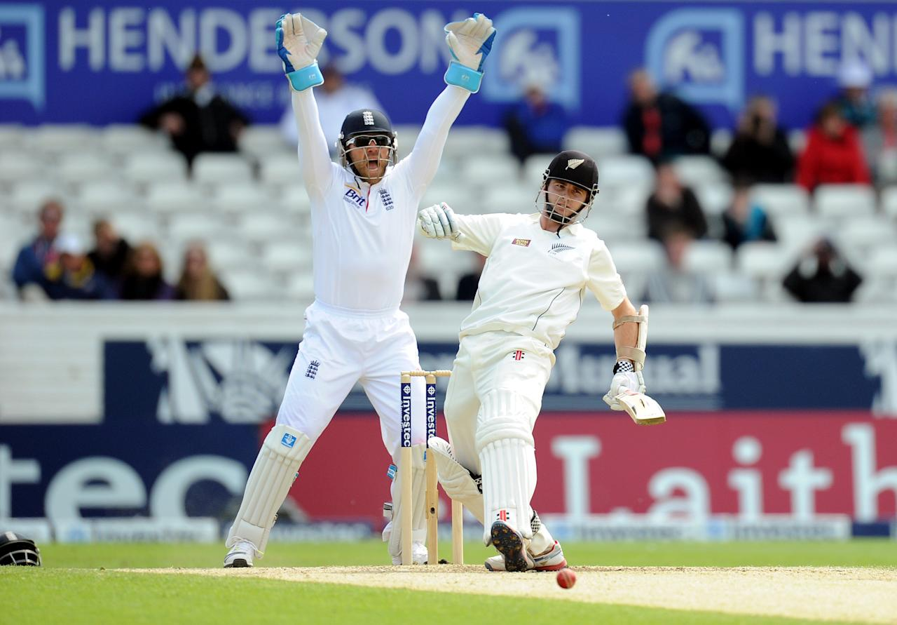 New Zealand's Kane Williamson is out LBW by England's Graeme Swann during the Second Investec Test match at Headingley, Leeds.