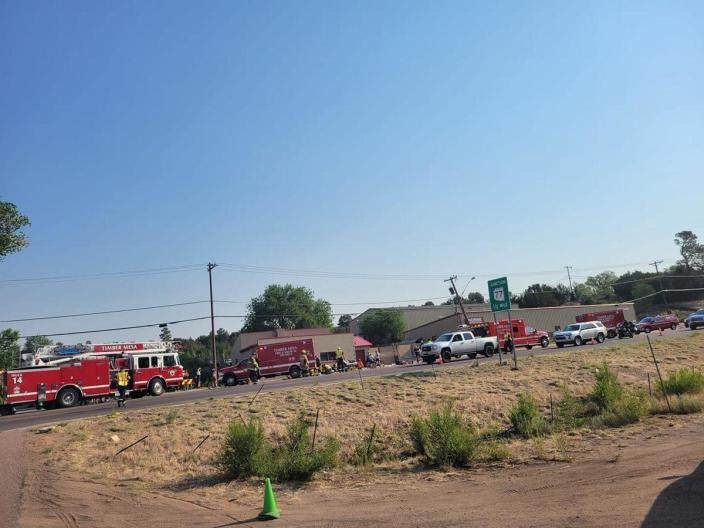 Six people are in critical condition and others are hurt after a pickup truck drove into bicyclists at a race event in downtown Show Low, Arizona, early Saturday morning, June 19, 2021. / Credit: KPHO-TV