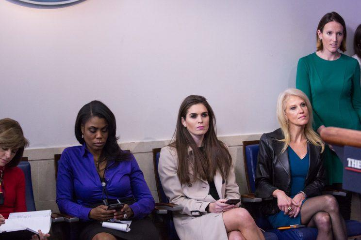 Omarosa, Kellyanne Conway, and Hope Hicks during the daily press briefing in the James Brady Press Briefing Room at the White House. (Photo: Getty Images)