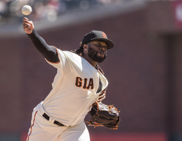 San Francisco Giants starting pitcher Johnny Cueto throws against a Miami Marlins batter in the first inning of a baseball game in San Francisco, Sunday, Sept. 15, 2019. (AP Photo/John Hefti)