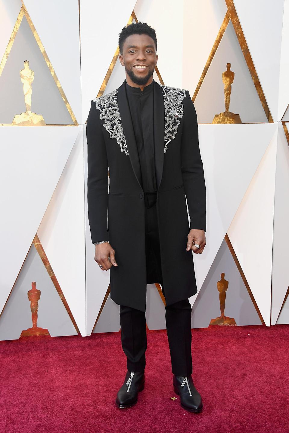 <p>Forget the traditional tux, the actor went down a storm on social media courtesy of a delicately embroidered Givenchy blazer. <em>[Photo: Getty]</em> </p>