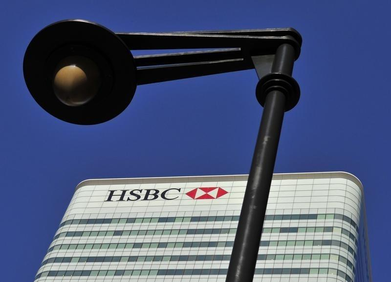 The HSBC headquarters building is seen in the Canary Wharf financial district in London