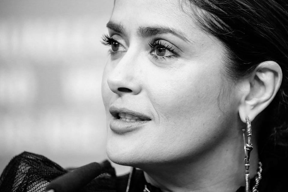 Salma Hayek has been praised for sharing a swimwear selfie, pictured in February, 2020. (Getty Images)