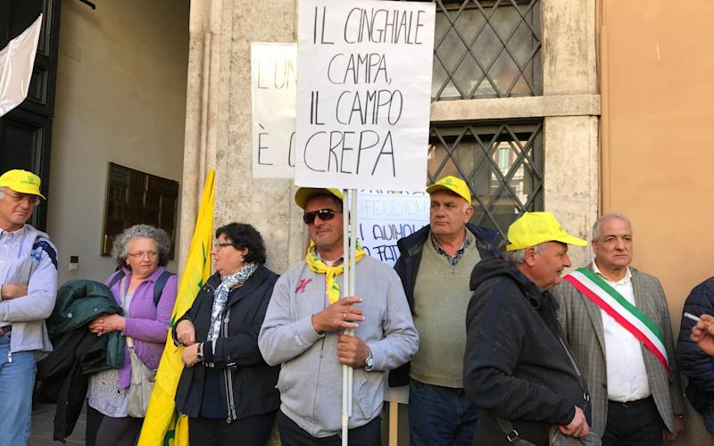 Around 1,000 farmers protested outside parliament in Rome - Nick Squires