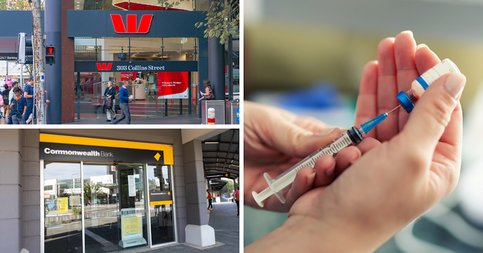 The exterior of a Westpac branch and CBA branch and hands preparing a dose of vaccine.