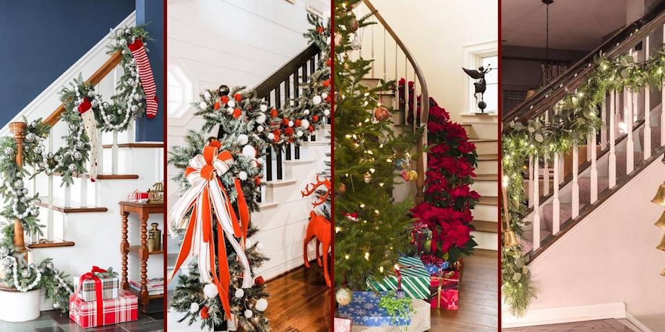 """<p>When decorating for the holidays, there are some areas that inevitably get all the attention—<a href=""""https://www.oprahmag.com/life/g29114554/christmas-tree-decorating-ideas/"""" rel=""""nofollow noopener"""" target=""""_blank"""" data-ylk=""""slk:your tree"""" class=""""link rapid-noclick-resp"""">your tree</a>, your mantel, and even the bushes outside. But why stop at <a href=""""https://www.oprahmag.com/life/g34443405/diy-christmas-ornaments/"""" rel=""""nofollow noopener"""" target=""""_blank"""" data-ylk=""""slk:homemade ornaments"""" class=""""link rapid-noclick-resp"""">homemade ornaments</a> and colorful string lights for these locations when you can really bring the holiday cheer (we could all use it this year!) by decking other corners of your home, like your staircase. </p><p>Your banister is typically one of the first things guests see when they step into your home. While you can go all out with epic <a href=""""https://www.oprahmag.com/life/g23939784/christmas-decorations-ideas/"""" rel=""""nofollow noopener"""" target=""""_blank"""" data-ylk=""""slk:DIY decorations"""" class=""""link rapid-noclick-resp"""">DIY decorations</a>, like a jumbo paper holly garland, you don't have to spend an entire afternoon focusing on this spot to make it special. There are plenty of simple, yet Pinterest-worthy Christmas stair decorations that take just five to 10 minutes to execute, like draped greenery, dangling snowflakes, twinkling string lights, or stacks of presents on each tread, or stickers.</p><p>To help inspire you, we've gathered a wide range of Christmas stair decorating ideas ranging from modern to rustic and traditional. And who knows, you may just want to keep some of the bannister decor up year round.</p>"""