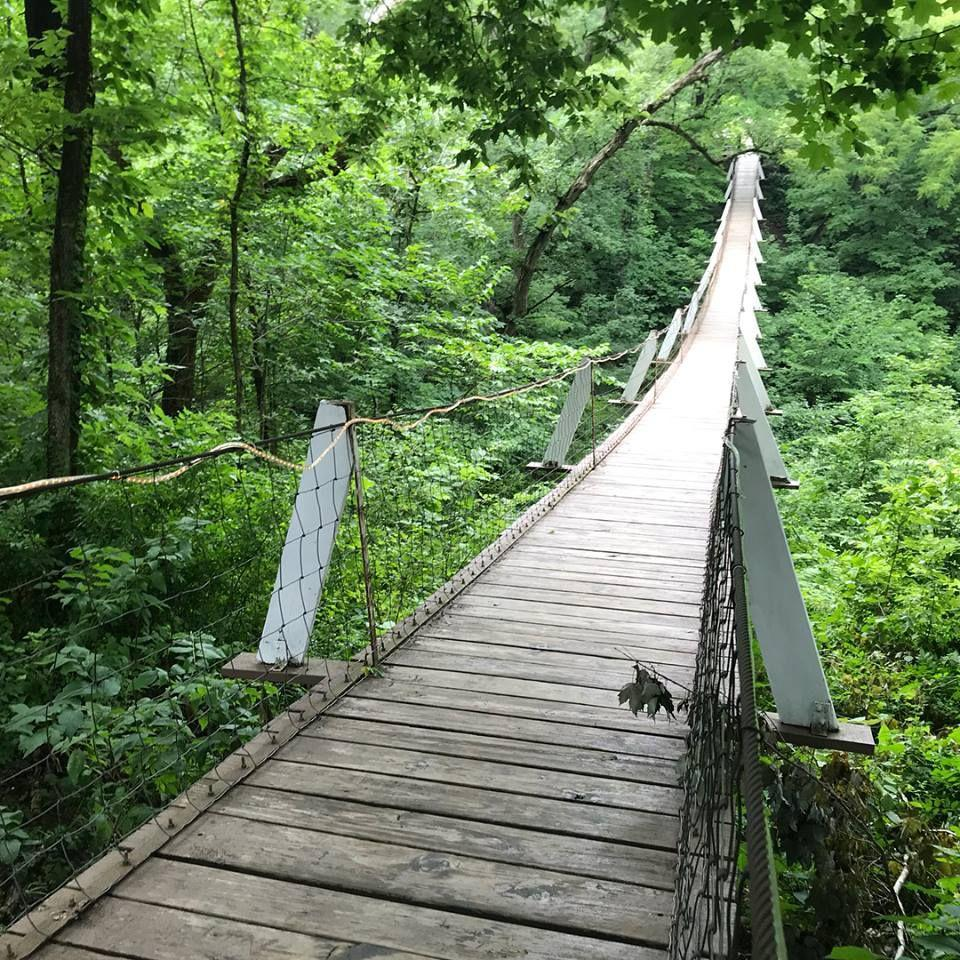 """<p><strong>Swinging Bridge</strong></p><p>If you're not afraid of heights, this <a href=""""https://www.traveliowa.com/destination/swinging-bridge/9114/"""" rel=""""nofollow noopener"""" target=""""_blank"""" data-ylk=""""slk:Swinging Bridge"""" class=""""link rapid-noclick-resp"""">Swinging Bridge</a> in Columbus Junction is 262 feet long and was originally built in 1886 (rebuilt in 1922). It's an ideal destination for a hike that won't take all day. </p>"""