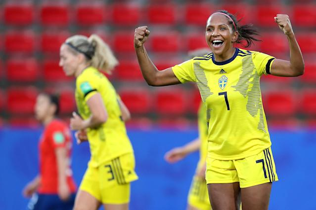 Madelen Janogy of Sweden celebrates after scoring her team's second goal during the 2019 FIFA Women's World Cup France group F match between Chile and Sweden at Roazhon Park on June 11, 2019 in Rennes, France. (Photo by Catherine Ivill - FIFA/FIFA via Getty Images)