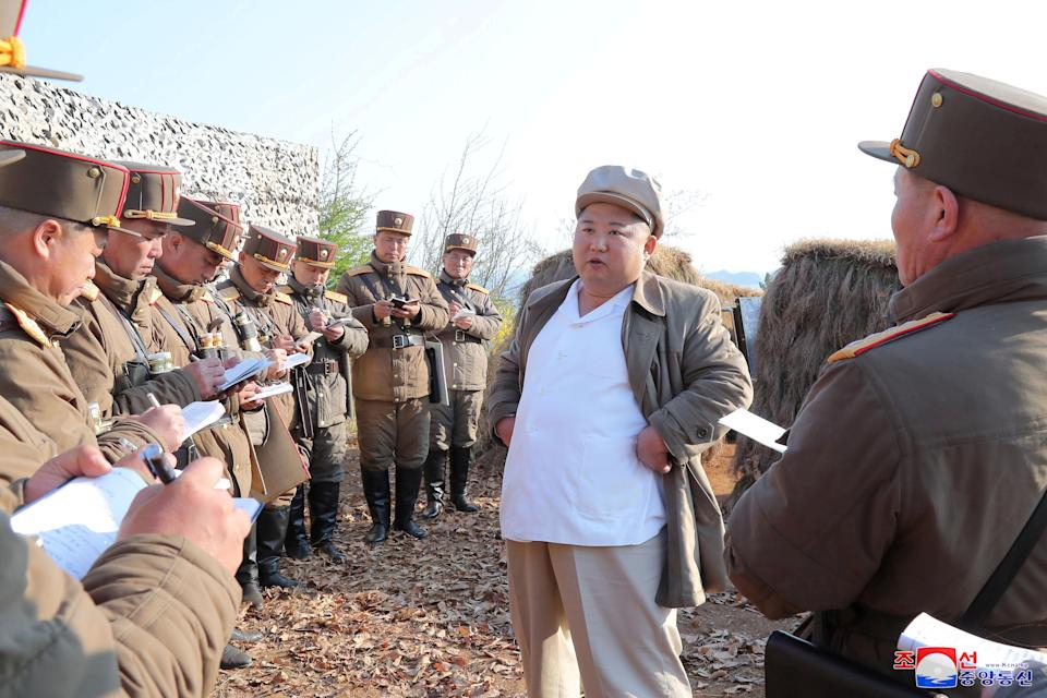 North Korean leader Kim Jong Un guides a drill of mortar sub-units of North Korean Army in this image released by North Korea's Korean Central News Agency (KCNA) on April 10, 2020. KCNA/via REUTERS ATTENTION EDITORS - THIS IMAGE WAS PROVIDED BY A THIRD PARTY. REUTERS IS UNABLE TO INDEPENDENTLY VERIFY THIS IMAGE. NO THIRD PARTY SALES. SOUTH KOREA OUT.     TPX IMAGES OF THE DAY