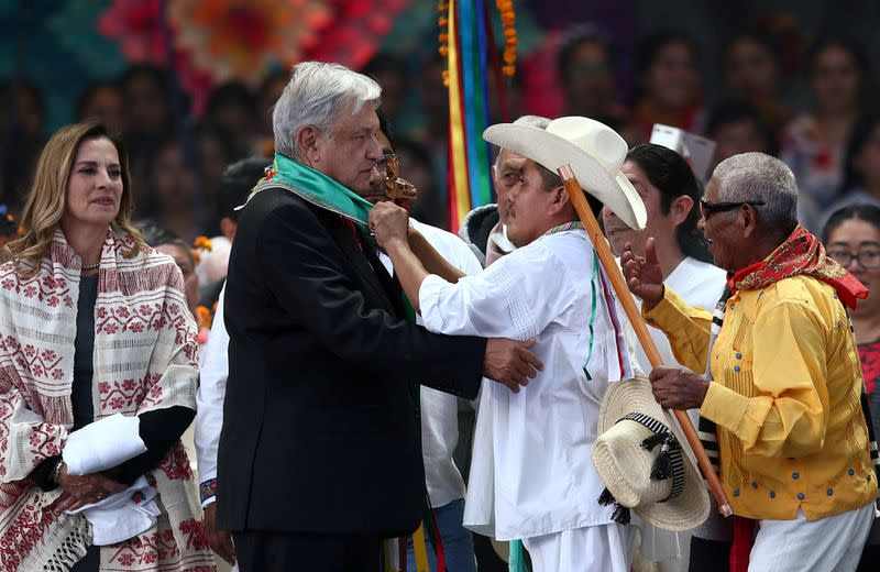 FILE PHOTO: Mexico's President Andres Manuel Lopez Obrador at AMLO Fest at Zocalo square in Mexico City