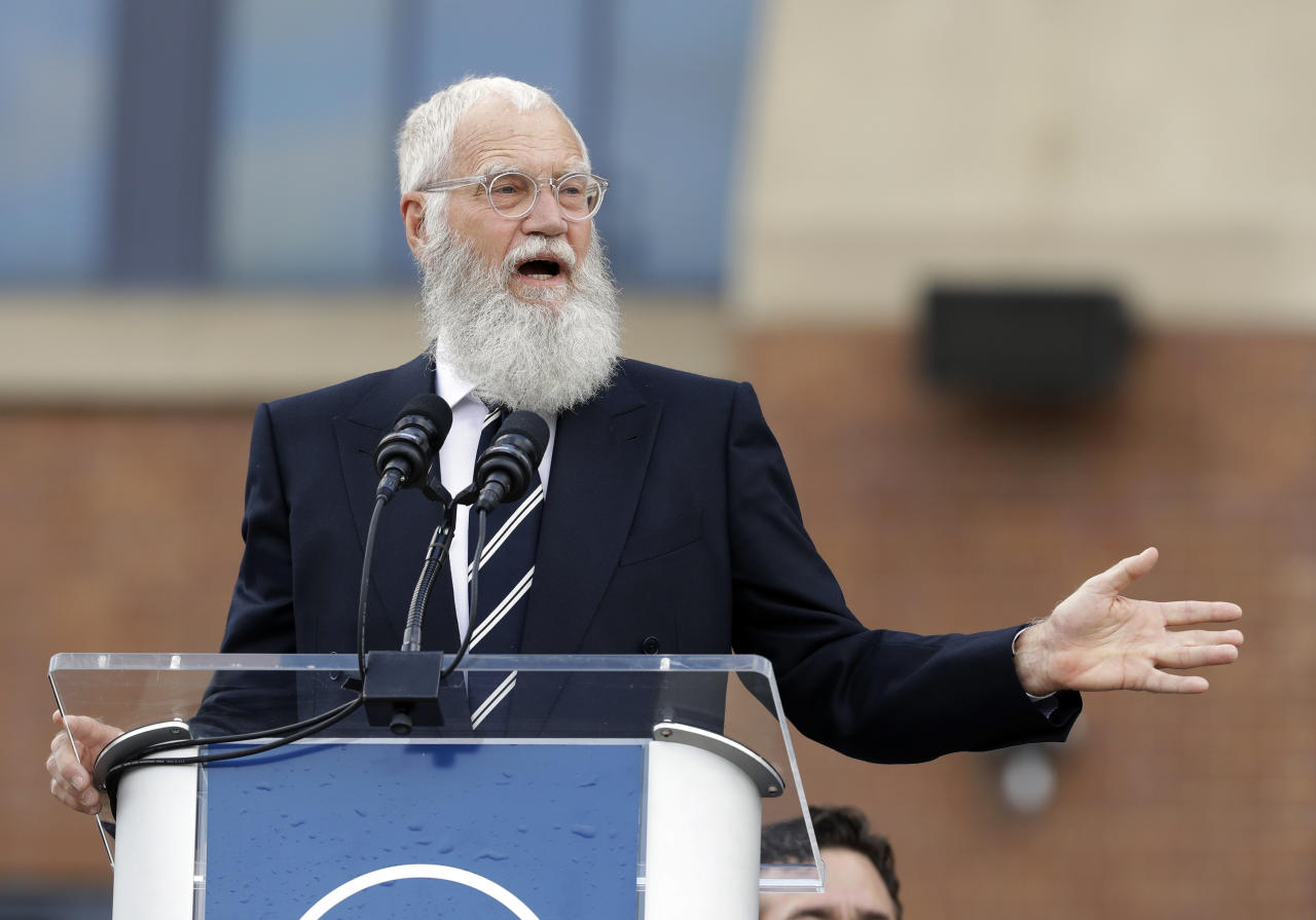<p> FILE - In this Saturday, Oct. 7, 2017, file photo, David Letterman speaks during the unveiling of a Peyton Manning statue outside of Lucas Oil Stadium, in Indianapolis. Letterman is being honored with the Mark Twain Prize for American Humor. He'll receive the lifetime achievement award Sunday, Oct. 22, 2017, at Washington's Kennedy Center. (AP Photo/Darron Cummings, File) </p>