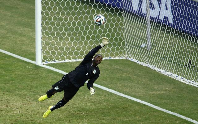 Ivory Coast's Barry makes a save during the team's 2014 World Cup Group C soccer match against Greece in Fortaleza